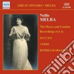 Melba Nellie - The Hayes And London Recordings 1921-1926 cd musicale di Nellie Melba