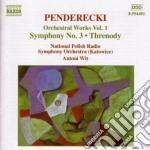 Penderecki Krzysztof - Opere X Orchestra Vol.1: Sinfonia N.3, Trenodia X Le Vittime Di Hiroshima, Fluor cd musicale di Krzysztof Penderecki