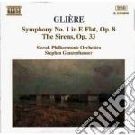 Gliere Reinhold - Sinfonia N.1 Op.8, Le Sirene Op.33 cd musicale di Gliere