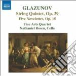 Glazunov Alexander Kostantinovich - Quintetto Op.39, Novellette Op.15 cd musicale di Glazunov alexander k