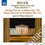 Reger Max - Trii Per Archi E Quartetti Con Pianoforte, Vol.1 cd musicale di Max Reger