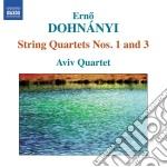 Dohnanyi - Quartetto Per Archi N.1, N.3 cd musicale di Erno Dohn�nyi