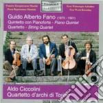 Fano Guido Alberto - Quintetto Per Pianoforte E Archi In Do Maggiore, Quartetto Per Archi In La Min. cd musicale di FANO