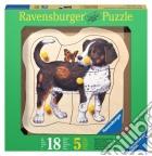 Baby puzzle in legno 5 pz - cagnolino e farfalla puzzle