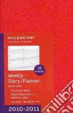 Agenda 18 mesi 2010/2011 - SETTIMANALE ORIZZONTALE POCKET Copertina rigida ROSSA articolo per la scrittura